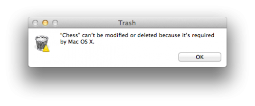 Chess can't be modified or deleted because it's required by Mac OS X