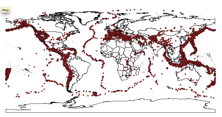 Mapping earthquakes cartographica world map with plotted earthquake locations gumiabroncs Choice Image