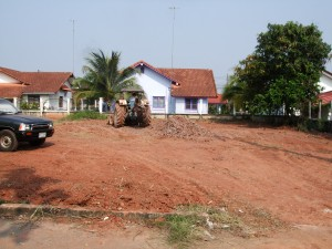 Clearing the plot of land in Thip Thani, Nong Khai
