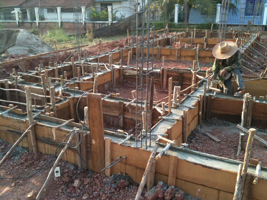 Pouring the ground floor beams