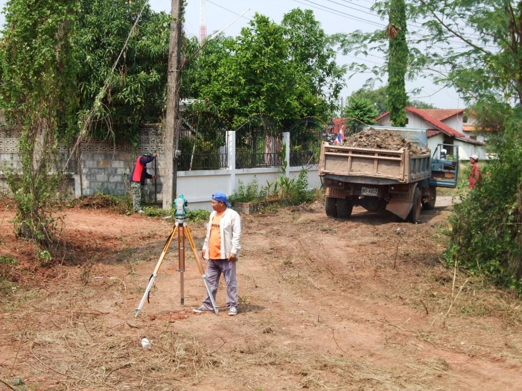 Soil arrives as the surveyor leaves...