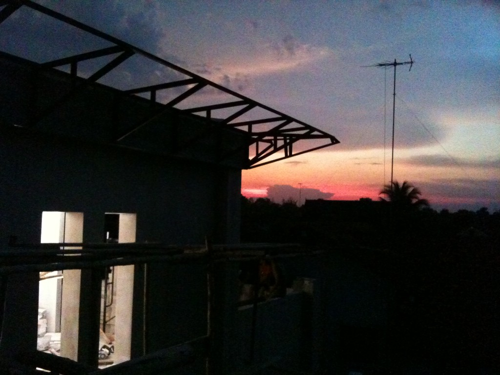 Sunset on the site