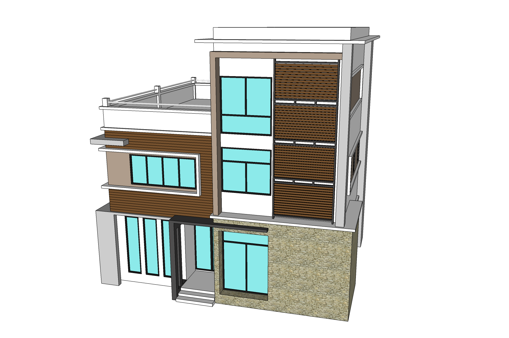 3 storey town house office nkd for Design of building house