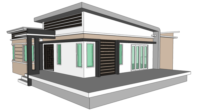 Modern style single storey 2 bedroom home concept nkd for One storey modern house design
