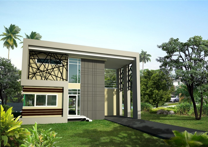 Modern style two storey two bedroom home concept nkd for Modern house design concepts