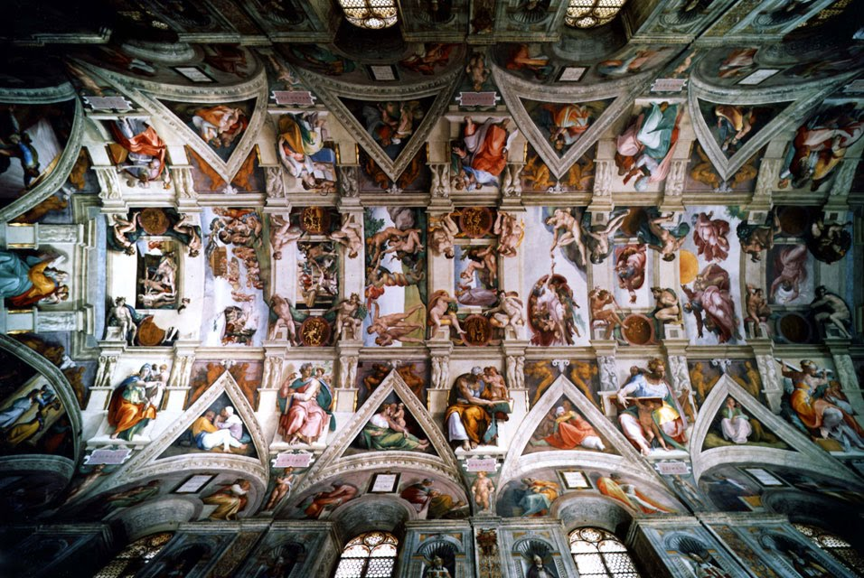 """the painting sections theme and restoration of michelangelos frescoes on the ceiling of the sistine  """"art restoration: """"the restoration of michelangelo's frescoes in the sistine chapel was a in the last section of the ceiling that michelangelo."""