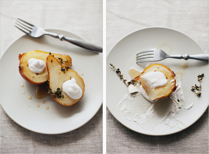 Put one or two pears on a plate, drizzle with a hefty spoonful of ...