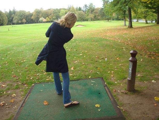 Jenn Taking One of Her Best Swings of the Day