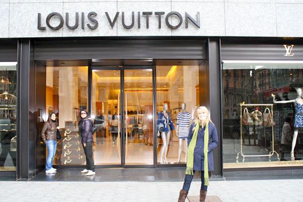 Jenn in front of Louis Vuitton in Barcelona