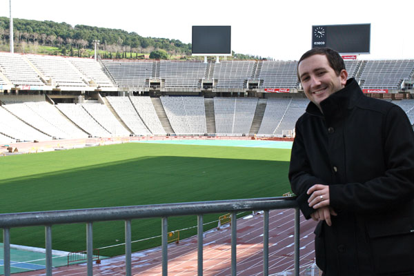 Checking out the Olympic Stadium Barcelona Spain