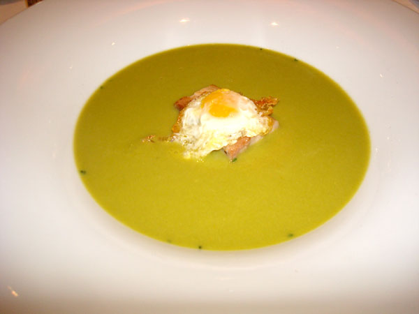 Pea Soup with Pouched Egg at Cent 111 Once