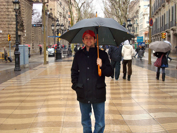 Standing Out in the First Signs of Snow in Barcelona