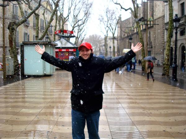 Standing on La Rambla in the Snow