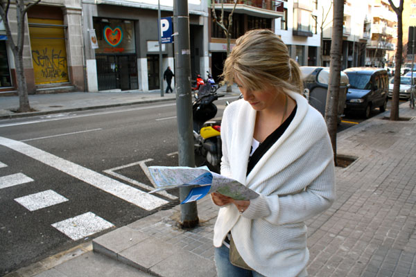 Jenn Double Checking the Map in Barcelona
