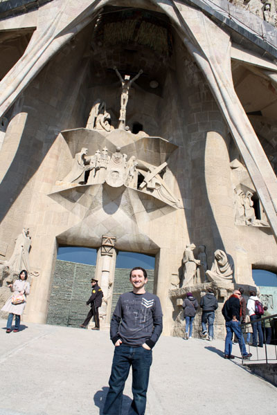 Joel Staning in the Front of the Sagrada Familia