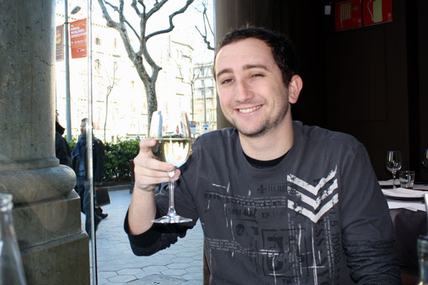 Enjoying a Glass of Wine at Brown 33 in Barcelona Spain