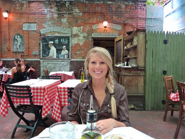 Jenn Sitting at the Italian Restaurant Ready for Her Birthday Lunch