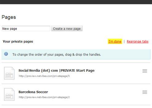 Social Nerdia - Netvibes Arrange Pages