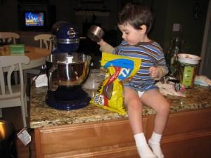 making cookies in his underwear