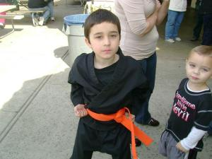mason looking tough at his karate tournament