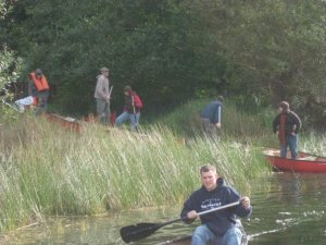 getting in our canoes.  look at me on the right.  ahoy.