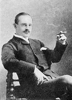Richard Mansfield (1857-1907) Portrait sitting in chair smoking cigar-Photo-B&W-Resized