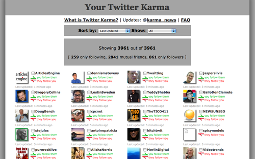 twitter karma interface