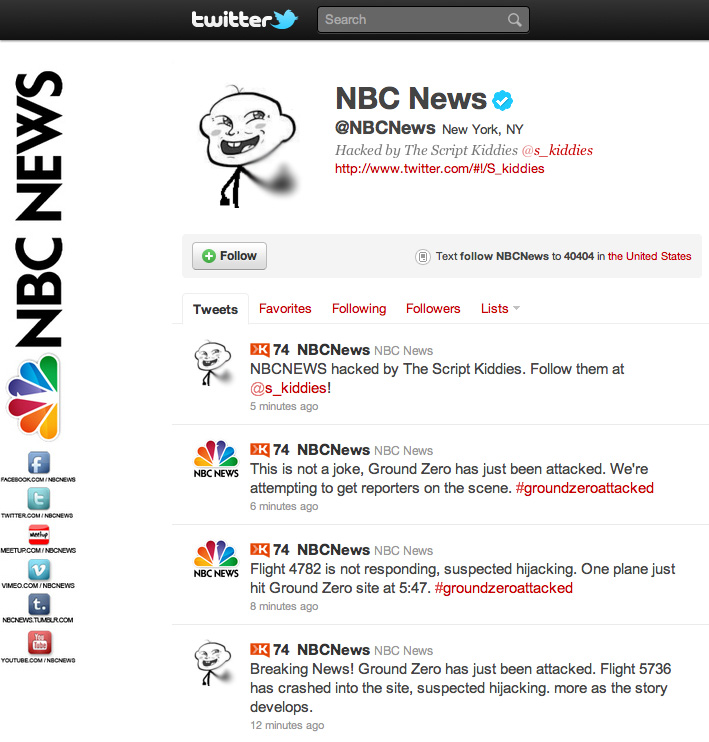The @NBCNews Twitter account was hacked Friday afternoon