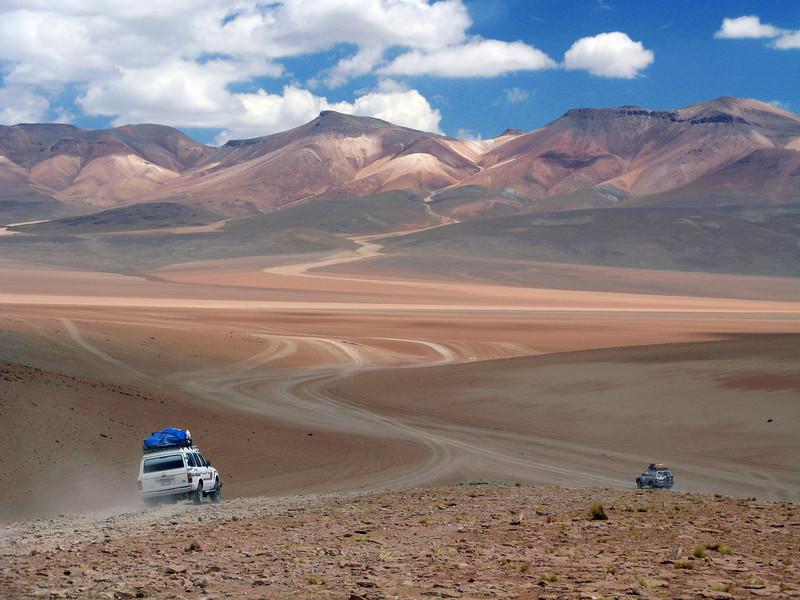 SUV Crossing Bolivian Desert