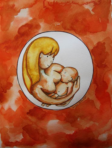 Breastfeeding Painting by Erika Hastings