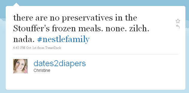 there are no preservatives in the Stouffer's frozen meals. none. zilch. nada. #nestlefamily