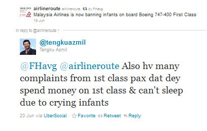 Also hv many complaints from 1st class pax dat dey spend money on 1st class & can't sleep due to crying infants