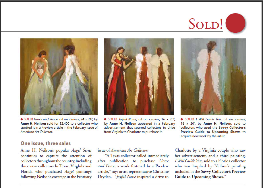 Coverage for Anne Neilson's Angel Series in American Art Collector