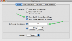 Google Quick Search Box Preference Screen