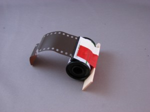 35mm film mounted to a craft stick
