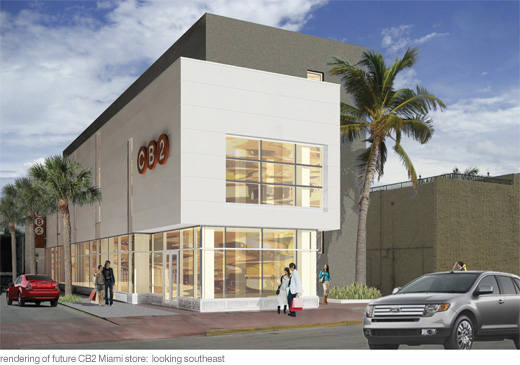 rendering of future CB2 miami store - looking southeast