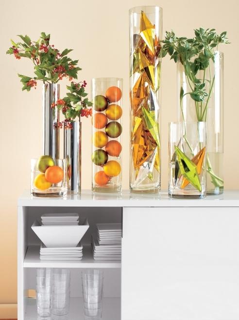 cylinder vases, white square plates, marta barware