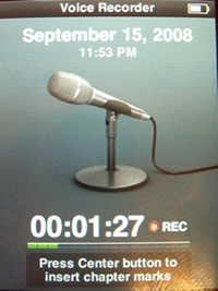 iPod Nano Recording Screen
