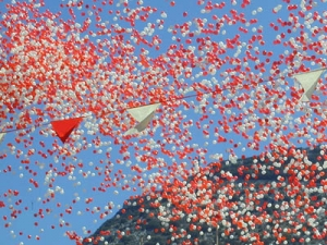Ballons being released in celebration of the nation day.