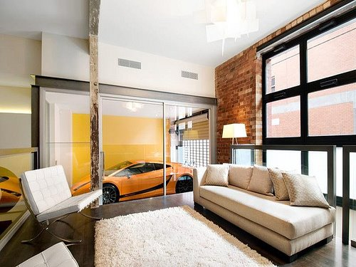 Trend alert yellow ferrari in living room desire to for Garage living room ideas