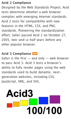 Safari 4 ACIS tests results (according Apple)