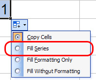 AutoFill Options button showing Fill Series option