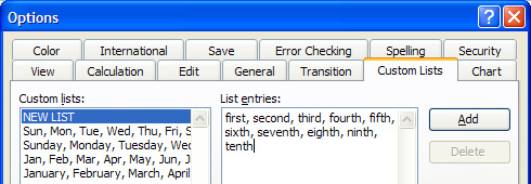 Excel 2003 Custom List in Options dialog box