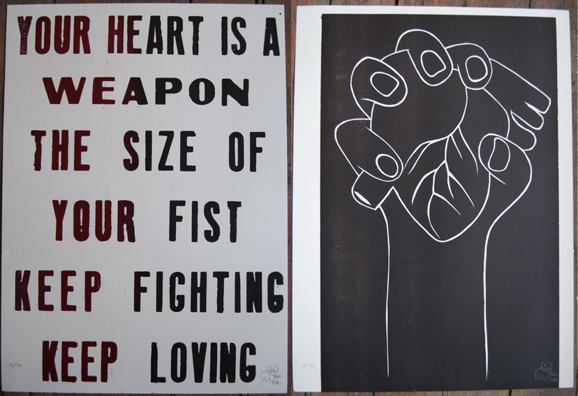 Pure Evil 'Heart Is A Weapon' Edition of 70 Size: 48 x 66cm £75 Each