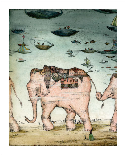 Andrea Offermann 'Pink Elephants' Edition of 100 Size: 13 x 16 Inches <a href=