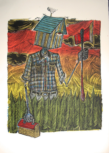 Dan Grzeca 'The Reluctant Woodsman' Edition of 60 Size: 22 x 30 Inches $75 Each