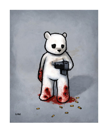 Luke Chueh 'Bear With A Gun Hand' Edition of 100 Size: 11 x 14 Inches [caption id=
