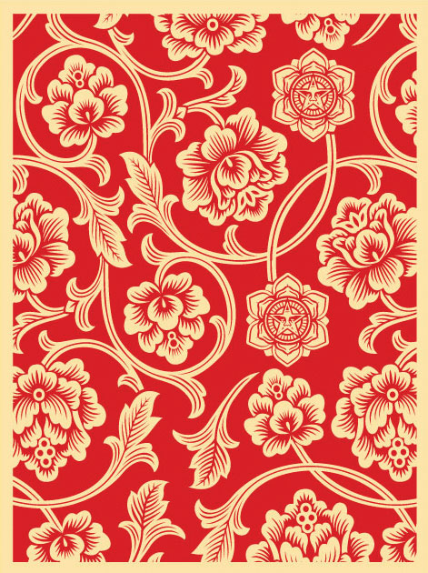 Obey 'Flower Vine' Red Edition of 100 Size: 18 x 24 Inches <a href=