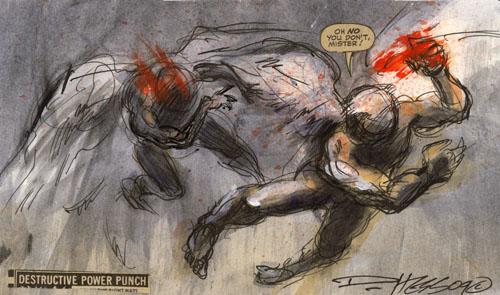 Derek Hess 'Punch' Original 7.5 x 4.4 Inches