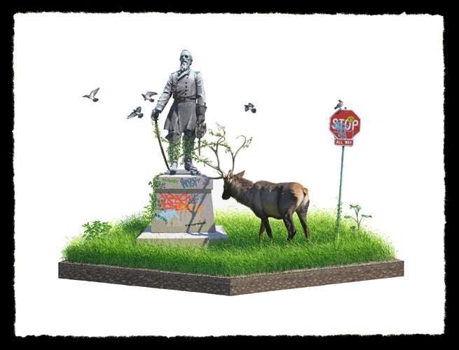 Josh Keyes 'Entangle II' Edition of 50 Size: 24 x 18 Inches [caption id=